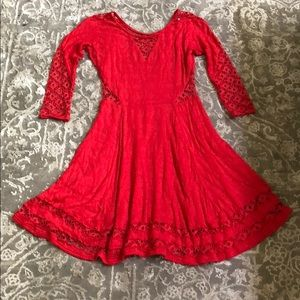 Free people bright red/pink dress